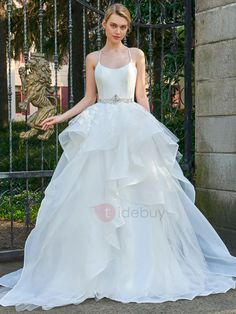 Tidebuy.com Offers High Quality Fabulous Spaghetti Straps Crystal Belt Appliques Wedding Dress, We have more styles for Wedding Dresses 2017