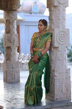 Saree and blouse South Indian Wedding Saree, South Indian Bride, Saree Wedding, Indian Bridal, Phulkari Saree, Silk Sarees, Saris, Saree Photoshoot, Green Saree
