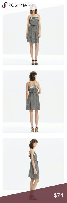 """Madewell Silk Striped Tie-Waist Dress NWT. Lightweight silk dress with a mix of stripes. Drawstring waist. 28.5"""" from top of bodice to bottom.  Offers are welcome!  **Bundles receive 20% off + a free gift!** Madewell Dresses"""