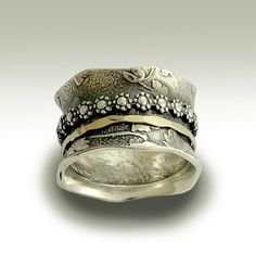 Meditation wedding band -  Sterling silver band with silver and gold floral spinners - I gave you my love..