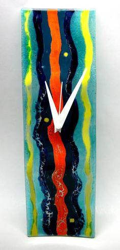 Relógio de vidro colorido Exclusivo Peça Unica PAREDE 30 x 8 cm R$ 79,00