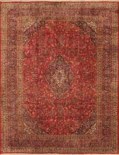 Hand-knotted Kashmar Red Wool Rug