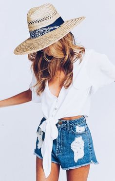 cute summer outfit inspiration. Denim shorts, hat, white blouse