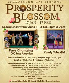 PROSPERITY BLOSSOM with special show from Chinese, Face Changing 1-3 Feb 2013!!