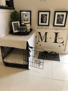 Puppy Room Konzept-Ideen, Atemberaubende Puppy Room Konzept-Ideen, Atemberaubende Puppy Room Konzept-Ideen, This DIY Dog Crate Furniture Piece Will Transform Your Living Room Crate & Table Wood Chevron Art Kennel Cover modify your Animal Room, Dog Bedroom, Puppy Room, Puppy Beds, Pet Beds, Dog Spaces, Small Spaces, Dog Corner, Dog Area