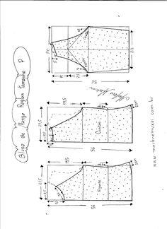 Esquema de modelagem de blusa de malha de manga raglan tamanho P.