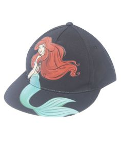 Add a little more cute to your headwear collection with this paneled baseball cap featuring a super adorable print of Ariel from Disney's The Little Mermaid extending from the flat brim to the front panels. Hat includes an adjustable snapback closure.  100% Acrylic Hand Wash Imported