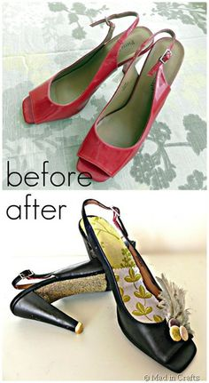 DIY Shoe Redo: $1.50 Goodwill shoes get a makeover with mystery supplies from Scribble Shop - Mad in Crafts #fashion #glitter