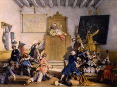dell' Acqua, Cesare Felix Georges (b,1821)- Sleeping Teacher, 1868 -2a