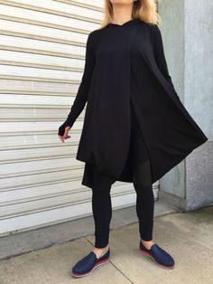 Black Asymmetric Long Sleeve Tunic Top / Women Casual Hoodie Blouse / Long Sleeves Dressy Top / Casual Maxi Shirt Top - ?LAZY MOON?
