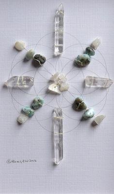 RESTORE RESTFUL SLEEP framed sacred crystal grid by CrystalGrids