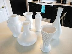 thrift store glass vases, painted with white spray paint, look like milk-glass!