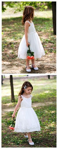 Tea-length Flower Girl Dress, love this pure white flower girl look? Get it in our Black Friday deal right now! Starts from Nov.24. We have hundreds of limited-time Lightning Deals for you to choose from, exciting Deals of the Day, and savings on your wallet