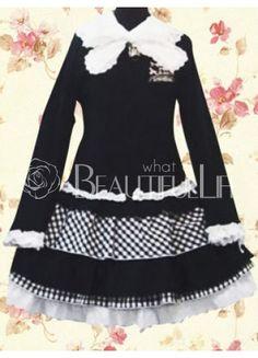 $90.49  Cool Cotton  School Lolita Dress With Punk Lattice Tiers  #School #Loltia #Dress