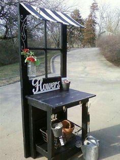 Repurpose an old door as a flower stall