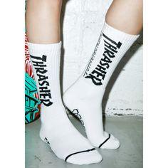 HUF X Thrasher Crew Socks ($15) ❤ liked on Polyvore featuring intimates, hosiery, socks, crew socks, huf, huf socks and skate socks