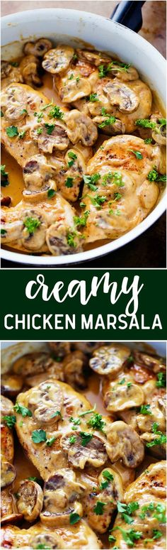 Creamy Chicken Marsala: A creamy and delicious classic italian dish that is ready in under 30 minutes! The creamy sauce is full of flavor and mushrooms and will be one of the best things that you make! Turkey Recipes, Dinner Recipes, Italian Chicken Recipes, Recipe Chicken, Creamy Chicken In Crockpot, Chicken Marsela, Easy Italian Recipes, Authentic Italian Recipes, Best Chicken Dishes