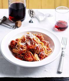 Australian Gourmet Traveller recipe for spaghetti con polpette (spaghetti with meatballs).