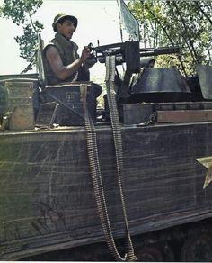 APC with mini gun. ~ Vietnam War
