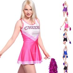 Sexy high school girl cheerleader hen #party uniform #costume w/ #pompoms, View more on the LINK: http://www.zeppy.io/product/gb/2/231315097524/