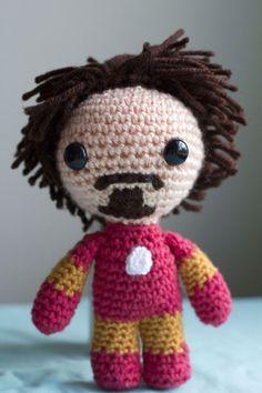 Tony Stark is Iron Man - free crochet pattern at Fuwa Fuwa Studio Crochet Diy, Crochet Crafts, Yarn Crafts, Crochet Projects, Crochet Patterns Amigurumi, Crochet Dolls, Iron Man, Confection Au Crochet, Rock Crafts