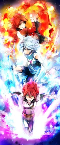 Inazuma Eleven :Academia Alius {Fuego, Hielo y cosmo Stelar} Torch, Gazelle y Xen Otaku, Pokemon Fusion, Me Anime, Manga Anime, Los Super Once, Inazuma Eleven Go, Anime Comics, Dragon Ball Z, Street Art