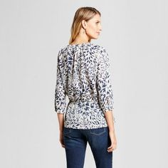 Women's Leaf Printed Blouse with Lace Inset - Isani for Target Navy/Cream XL, Blue