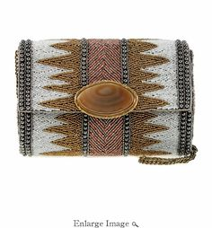 The powerful statement of this bag is in its stunning genuine Brazilian  Agate centerpiece and its metallic patterning all around. 5d4e1ab7ef