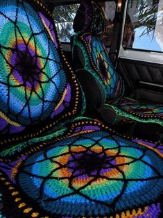 Items similar to Vibrant crochet car seat cover - FRONT only on Etsy Bobbers, Wolkswagen Van, Hippie Car, Crochet Car, Cute Car Accessories, Vehicle Accessories, Car Hacks, Triumph Motorcycles, Future Car