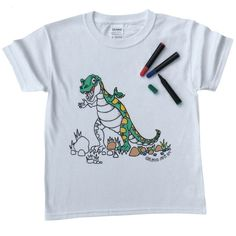 colour in t rex child's t shirt by pink pineapple | notonthehighstreet.com