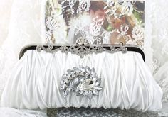 Wedding Clutch Wedding Purse White Satin by goddessdesignsgems
