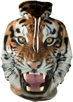 Women Autumn Winter Roaring Tiger Hoodies Black Friday Back To School Happy Birthday Fashion Present Long Hoodie, Hoodie Jacket, Tiger Hoodie, Winter Hoodies, Funny Hoodies, Rave Wear, Tiger Print, Cool Sweaters, Hipsters