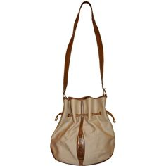 Pre-owned Mark Cross Canvas & Calfskin Drawstring Shoulder Bag ($675) ❤ liked on Polyvore