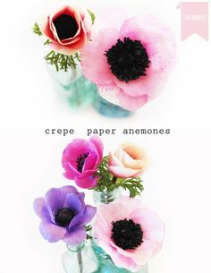 you will need white crepe paper pink paint black tissue paper plastic straw green crepe paper glue small black pom pom cut the white crepe paper into petal shapes and paint them with pink water col… Faux Flowers, Diy Flowers, Fabric Flowers, Tissue Paper Flowers, Diy Paper, Paper Crafts, Paper Glue, Diy Crafts, Papercraft