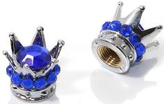 "Amazon.com : (2 Count) Cool and Custom ""King's Rhinestone Crown with Easy Grip Design"" Tire Wheel Rim Air Valve Stem Dust Cap Seal Made of Genuine Anodized Chrome Metal {Ocean Mitsubishi Blue and Silver Colors - Hard Metal Internal Threads for Easy Application - Rust Proof - Fits For Most Cars, Trucks, SUV, RV, ATV, UTV, Motorcycle, Bicycles} ""Rhinestone Diamond Studded"" : Sports & Outdoors"