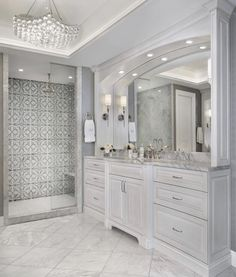 master bathroom, master bathroom decor, master bathroom suggestions, master bathroom remodel, master bathroom decor some Marble Bathroom Floor, White Marble Bathrooms, White Vanity Bathroom, Large Bathrooms, Small Bathroom, Master Bathroom, Bathroom Showers, Small Elegant Bathroom, Tiled Bathrooms