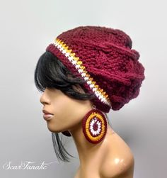 Washington Football Colors hand knit cabled Beanie/Slouch Hat w brim and free crochet earrings/ Maroon White Gold Burgundy/ elastic edge by ScarFanatic on Etsy Free Crochet, Knit Crochet, Crochet Hats, Learn Crochet, Redskins Hat, Crochet Bouquet, Lion Brand Wool Ease, Burgundy And Gold, White Gold