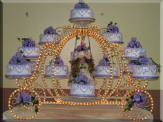 purple cake and carriage