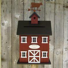 Original  -Wedding Card Box Birdhouse Cow Barn -  Choose your Colors.. $160.00, via Etsy.