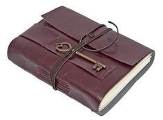 Burgundy Vegan Faux Leather Journal With Heart Key Charm Bookmark on Picsity