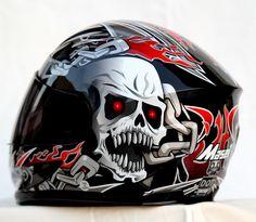 MASEI 816 DOT MOTORCYCLE HELMET BLACK SKULL M L XL