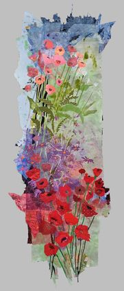 "Merill Comeau- Red Poppies, 2009, 24"" x 70""  hand painted repurposed fabrics,  commercial fabrics, vintage linens, plastic net, machine stitching"