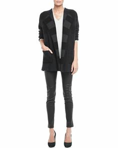Darcian Plaid-Lined Coat, Adriana Relaxed Cashmere Sweater & Keil Leather Leggings by Theory at Neiman Marcus.