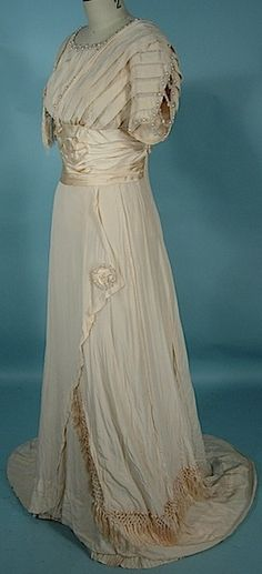 c. 1909 Ivory Silk Crepe Edwardian Wedding Gown with Fringe and Pearl Ornaments!  Worn by Grace Browne (Falck), 13 Florence Street, Hartford, CT, Married in 1909, 21 Years Old, Born in 1888.