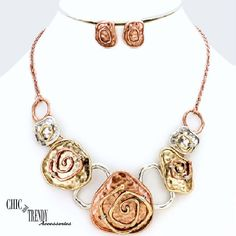 MIXED METAL COPPER, GOLD, SILVER CHUNKY BIB NECKLACE FASHION JEWELRY SET TRENDY #Unbranded
