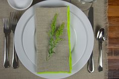 Make a bold statement with neon linen napkins.
