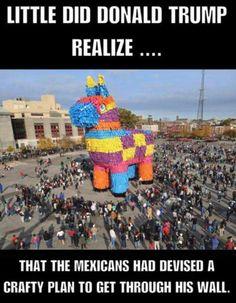 trump, mauer, troja, pferd, piñata