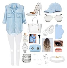 """Sky blue and white"" by joycemin on Polyvore featuring Topshop, Rails, Michael Kors, Victoria Beckham, STELLA McCARTNEY, Beats by Dr. Dre, Sole Society, Avenue, Larsson & Jennings and Vanessa Mooney"