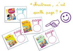 Affichage pour aider les élèves de CP à savoir à quelle page du fichier ou du manuel se rendre... ~ Elau