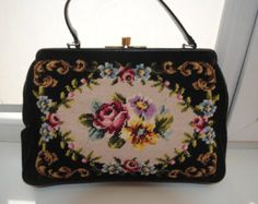 Beautiful Colorful Floral Needlepoint Vintage by TheVintageHandbag